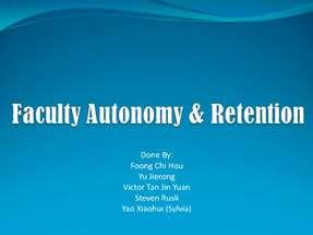 Faculty Autonomy & Retention